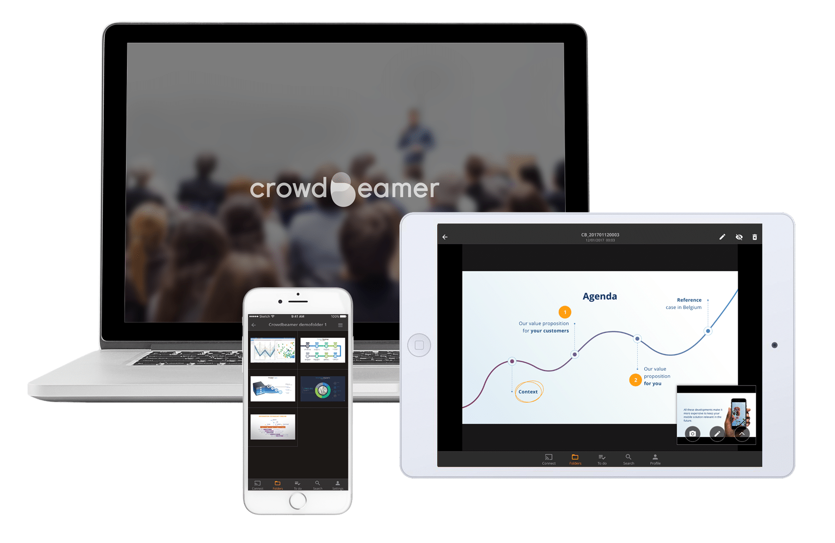 Real-time presentation sharing using the crowdbeamer app on laptop, tablet & smartphone